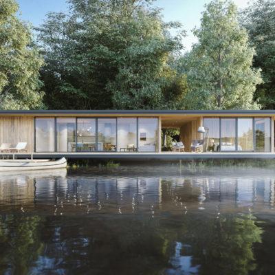湖に佇むミニマル建築のCG