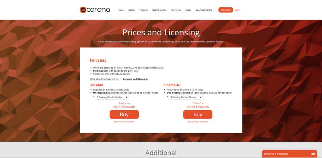 Corona Rendererの価格