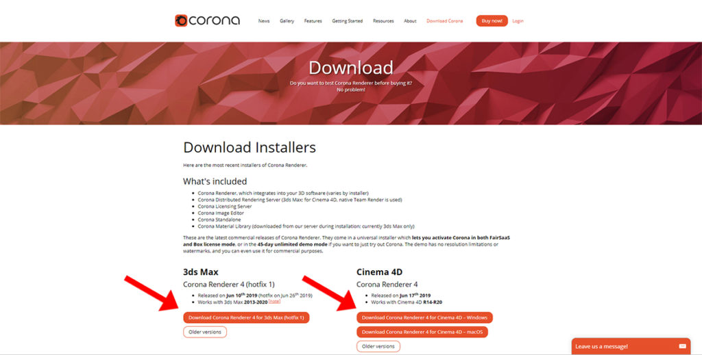 Corona Rendererのダウンロード画面