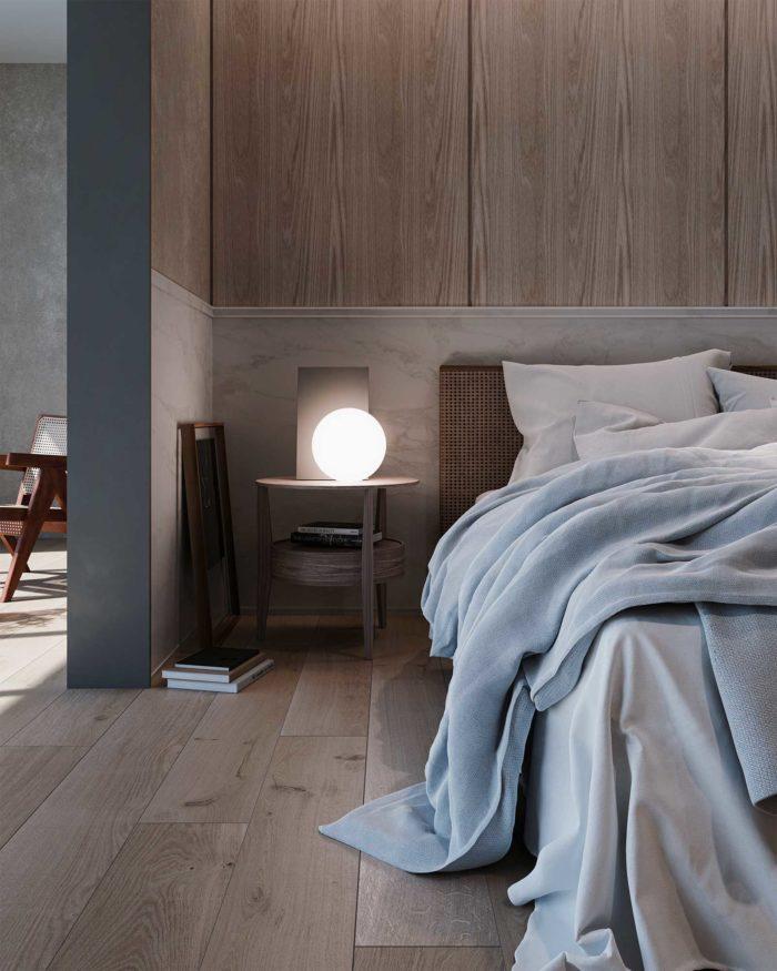 ベッドルームと照明のCG
