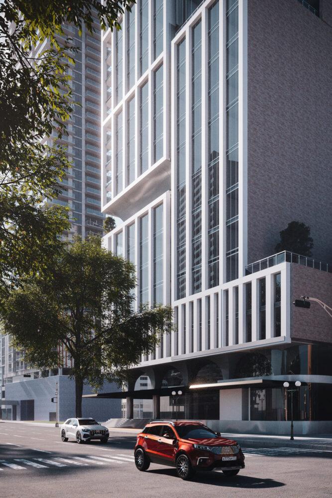 タワーマンションの外観CG